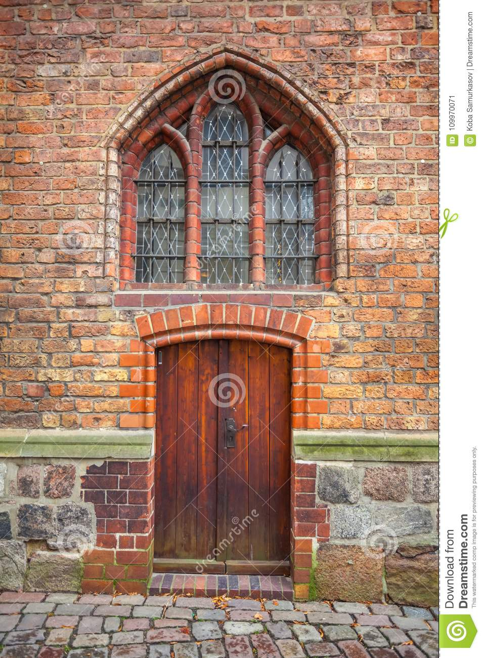 Berlin Gothic Door Of A Brick Gothic Building In Berlin Germany Stock Image