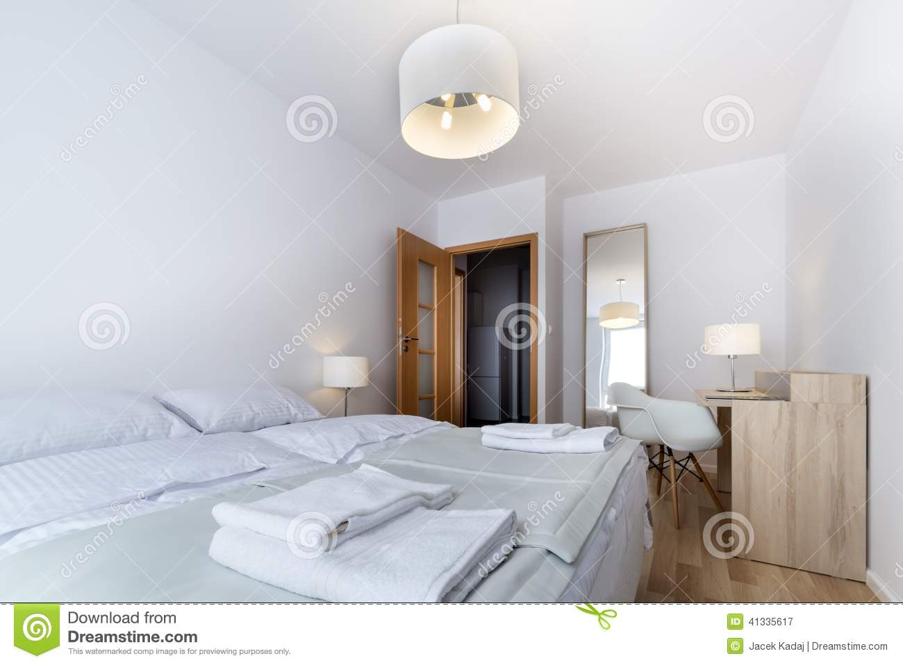 Bad Design Modern Double Bad In Modern Interior Design Room Stock Image Image Of