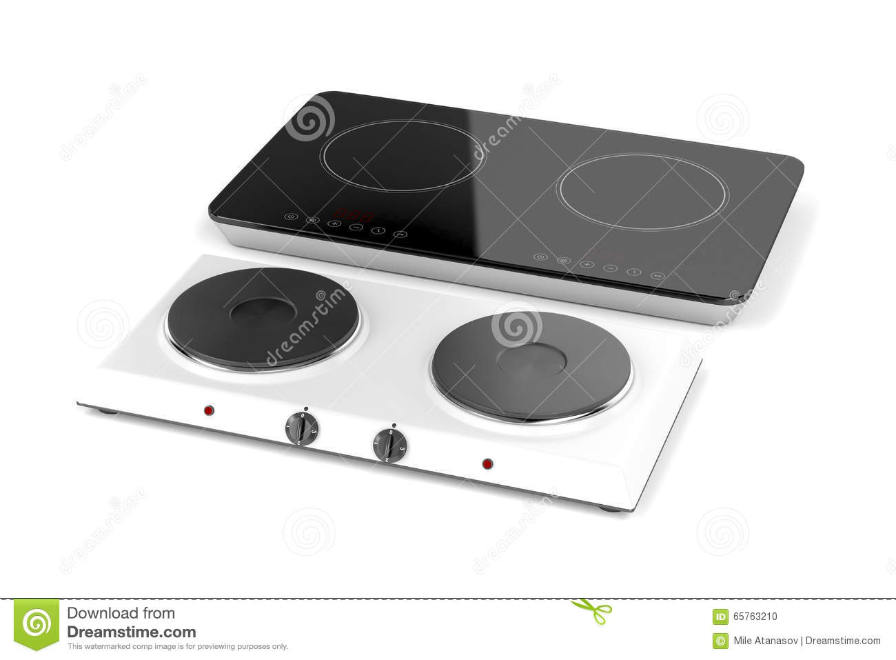 Induction Hot Plate Double Hot Plate And Induction Cooktop Stock Illustration