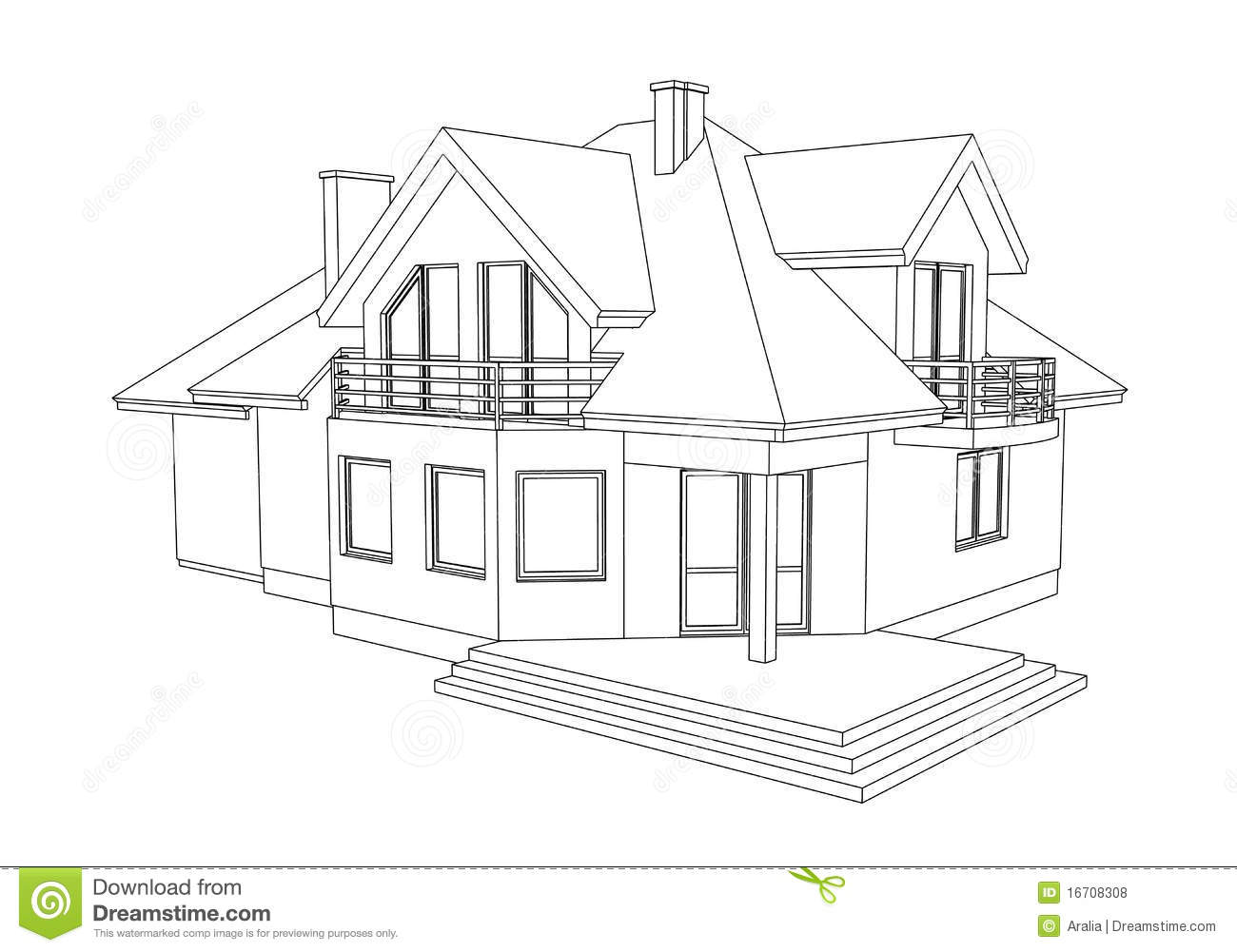 Huis Tekenen Drawing Of A Home Stock Illustration Illustration Of