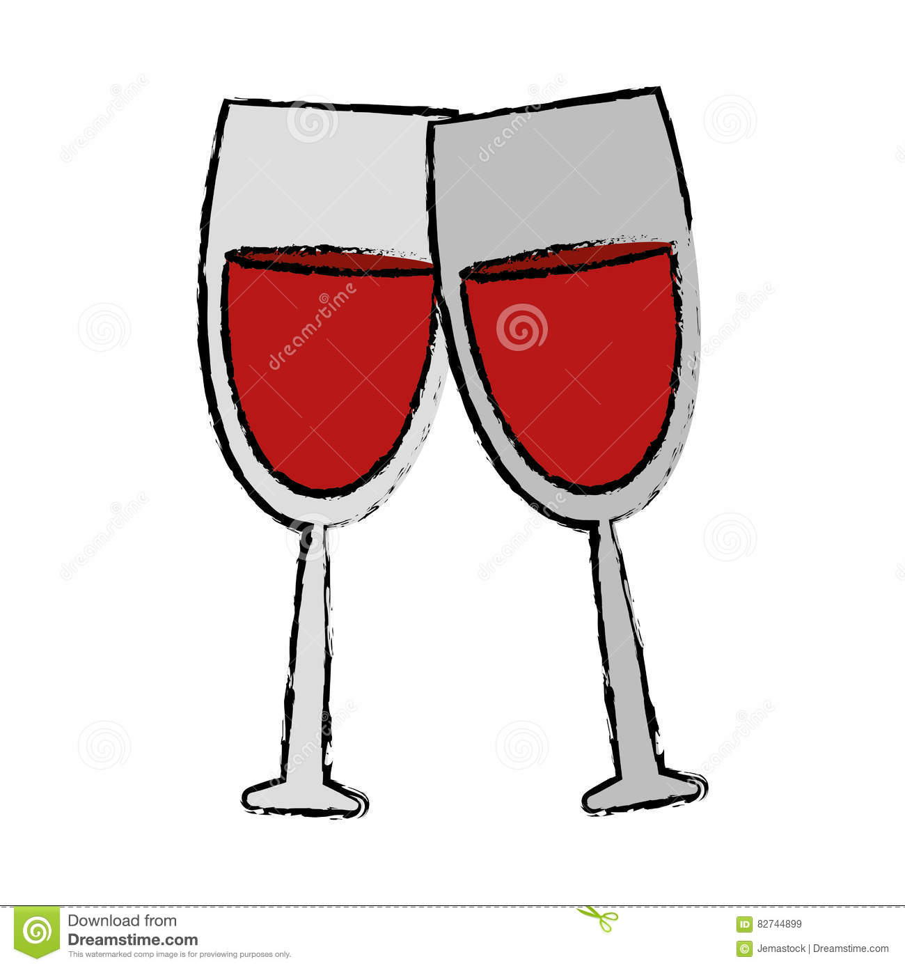Verre à Pied Dessin Drawing Two Glass Red Wine Drink Stock Vector