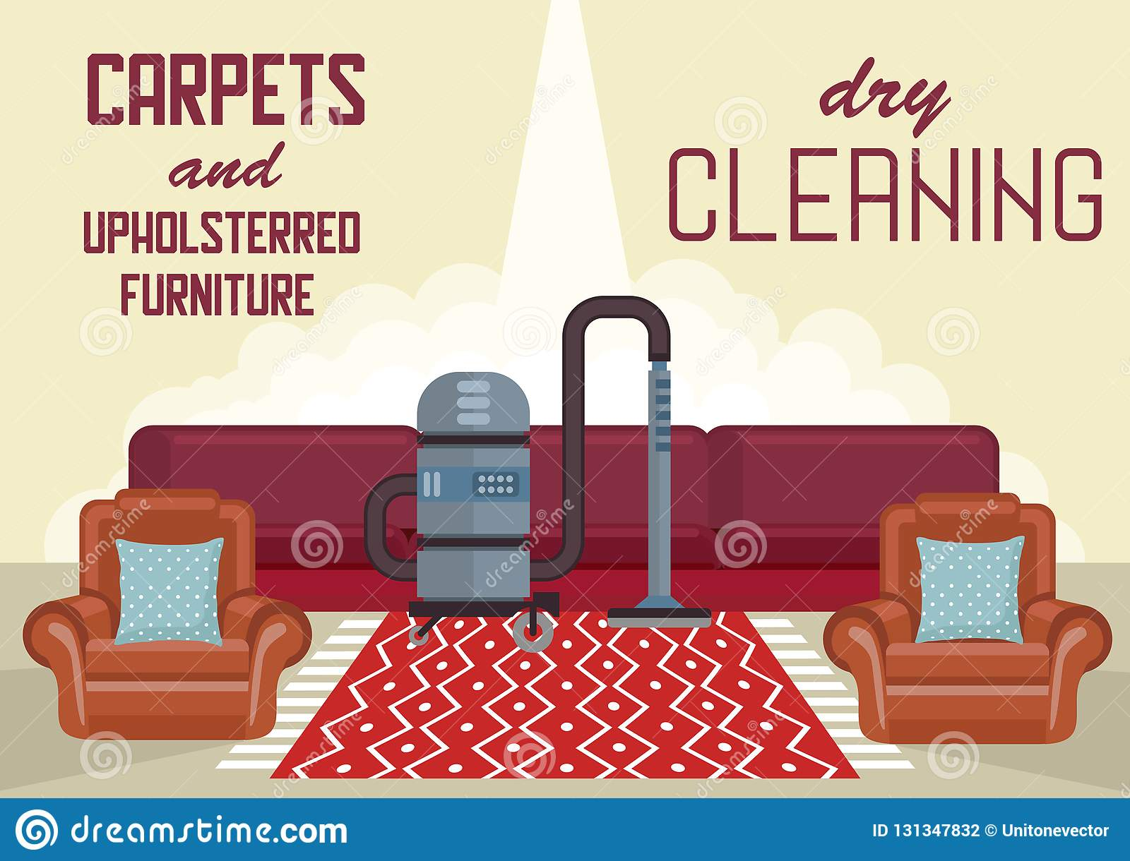 How To Dry Clean Sofa At Home Dry Cleaning Carpets And Upholstered Furniture Stock Vector