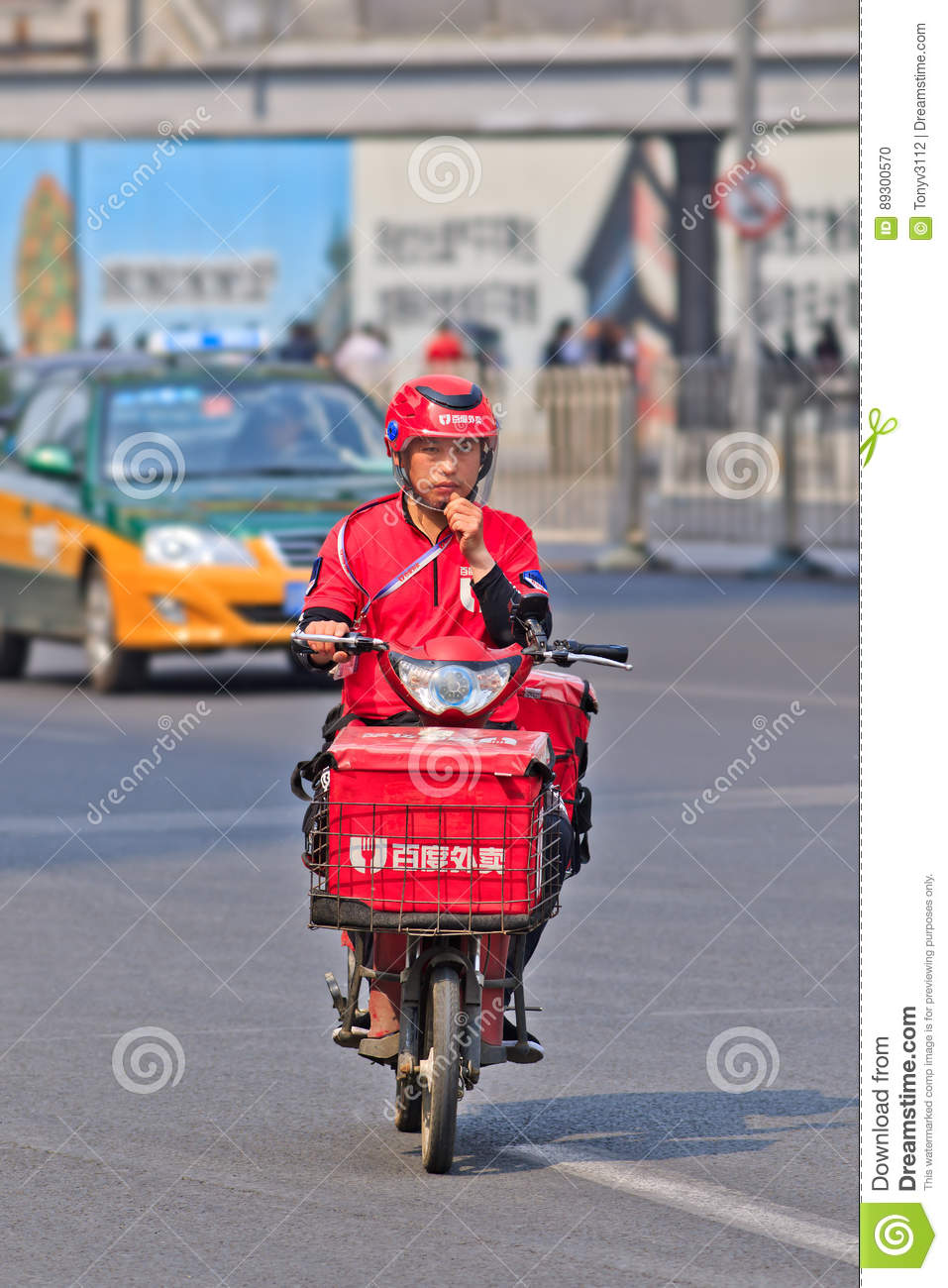 Diner Delivery E Bike Food Courier On The Road Beijing China Editorial Image