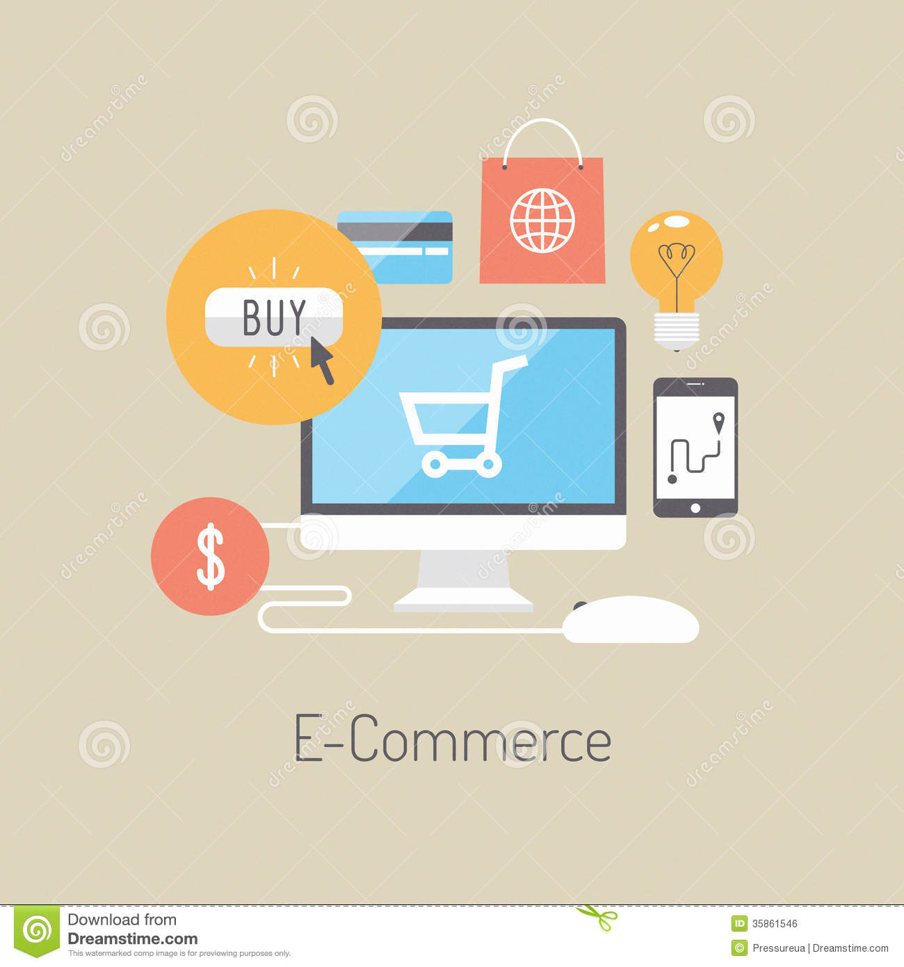 Online Decor Shopping E Commerce Flat Illustration Concept Royalty Free Stock