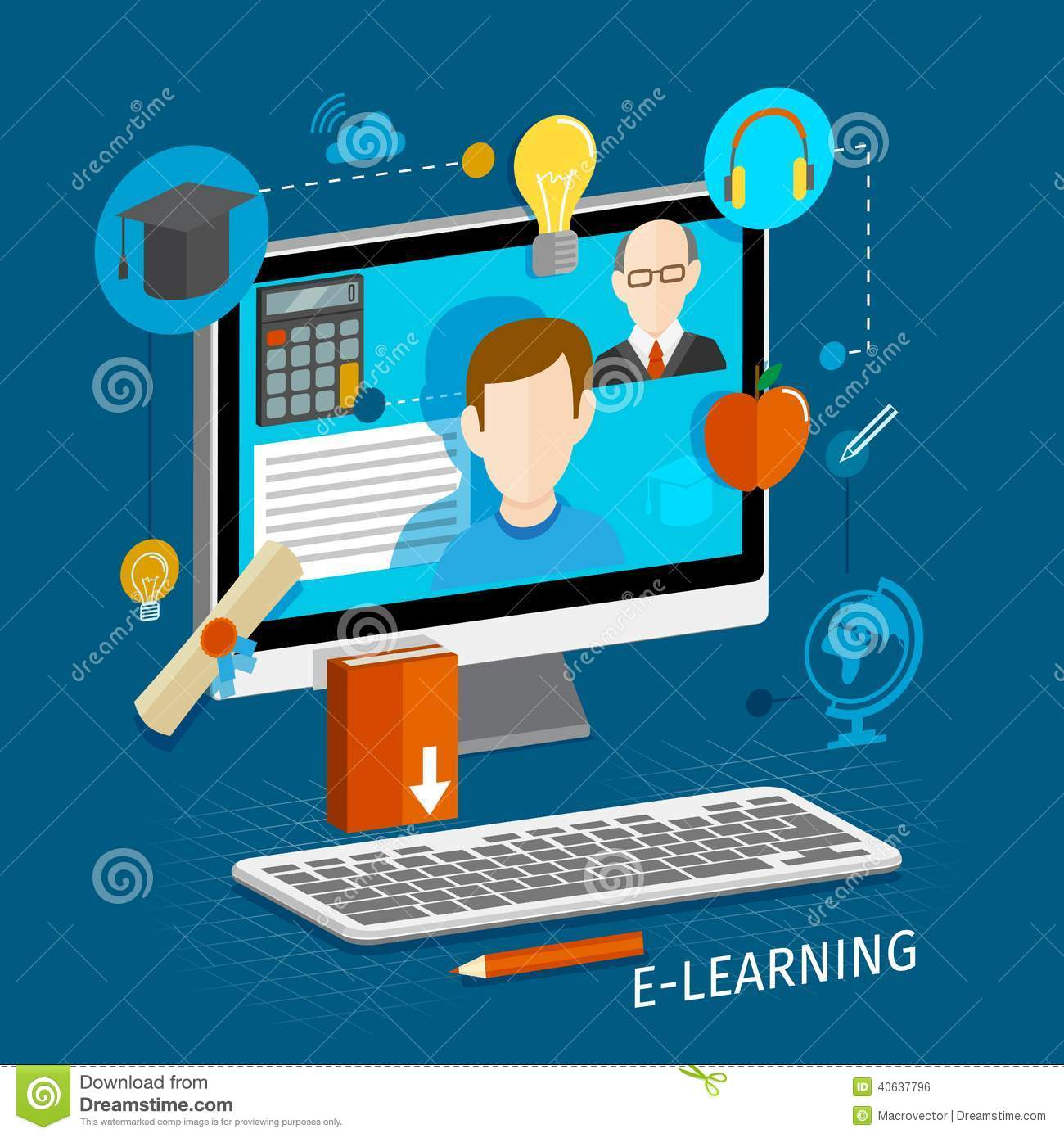 E learning flat poster royalty free stock image