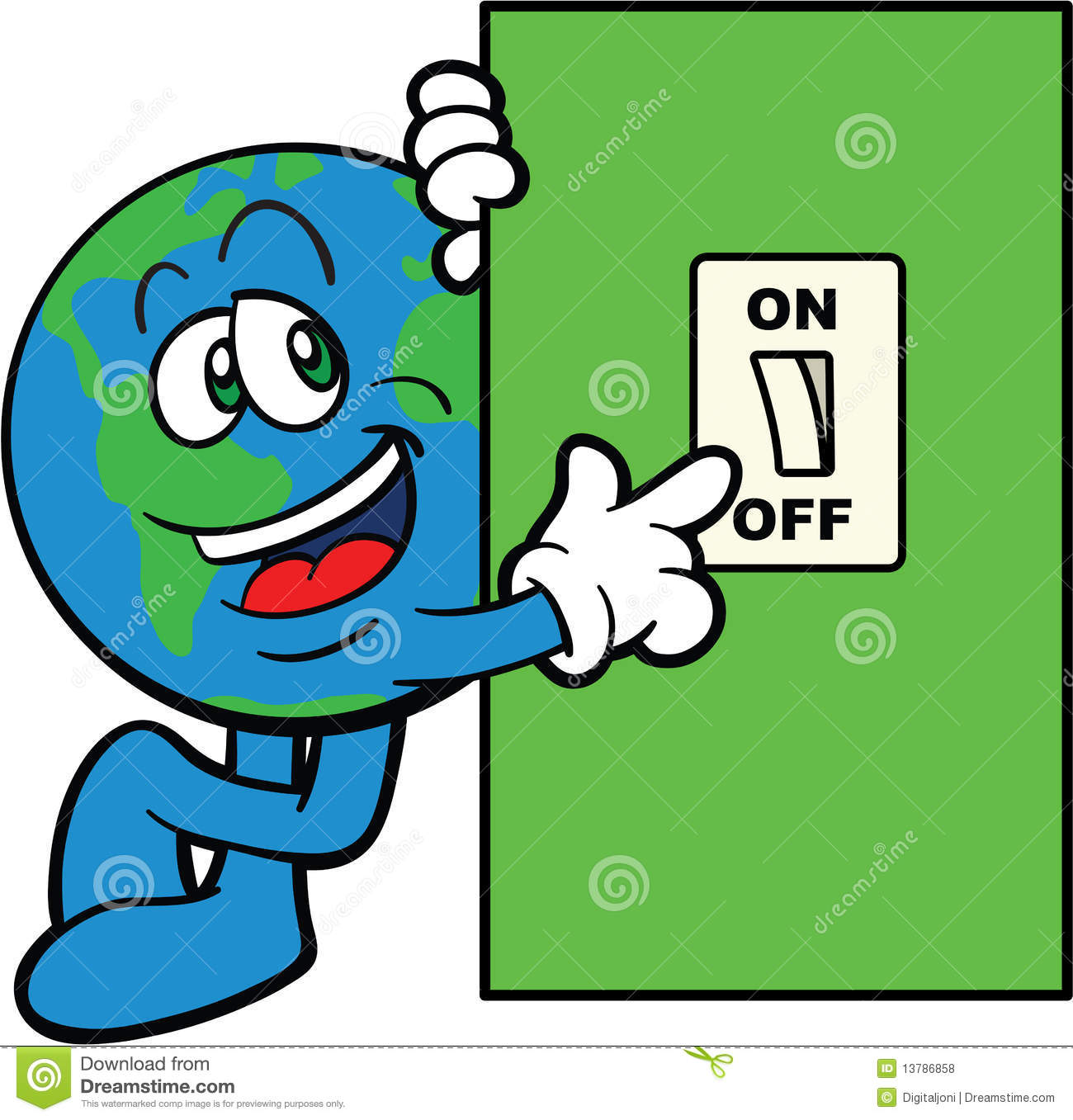 Light Switch Off Clipart Earth Cartoon Mascot Switch Off Stock Vector