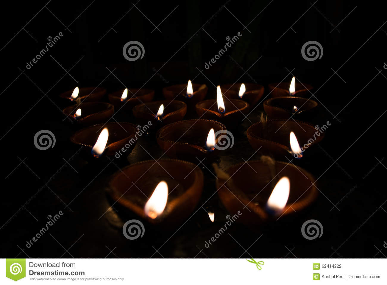 Earthen Lamp Diwali Earthen Lamps Diyas Stock Photo Image 62414222