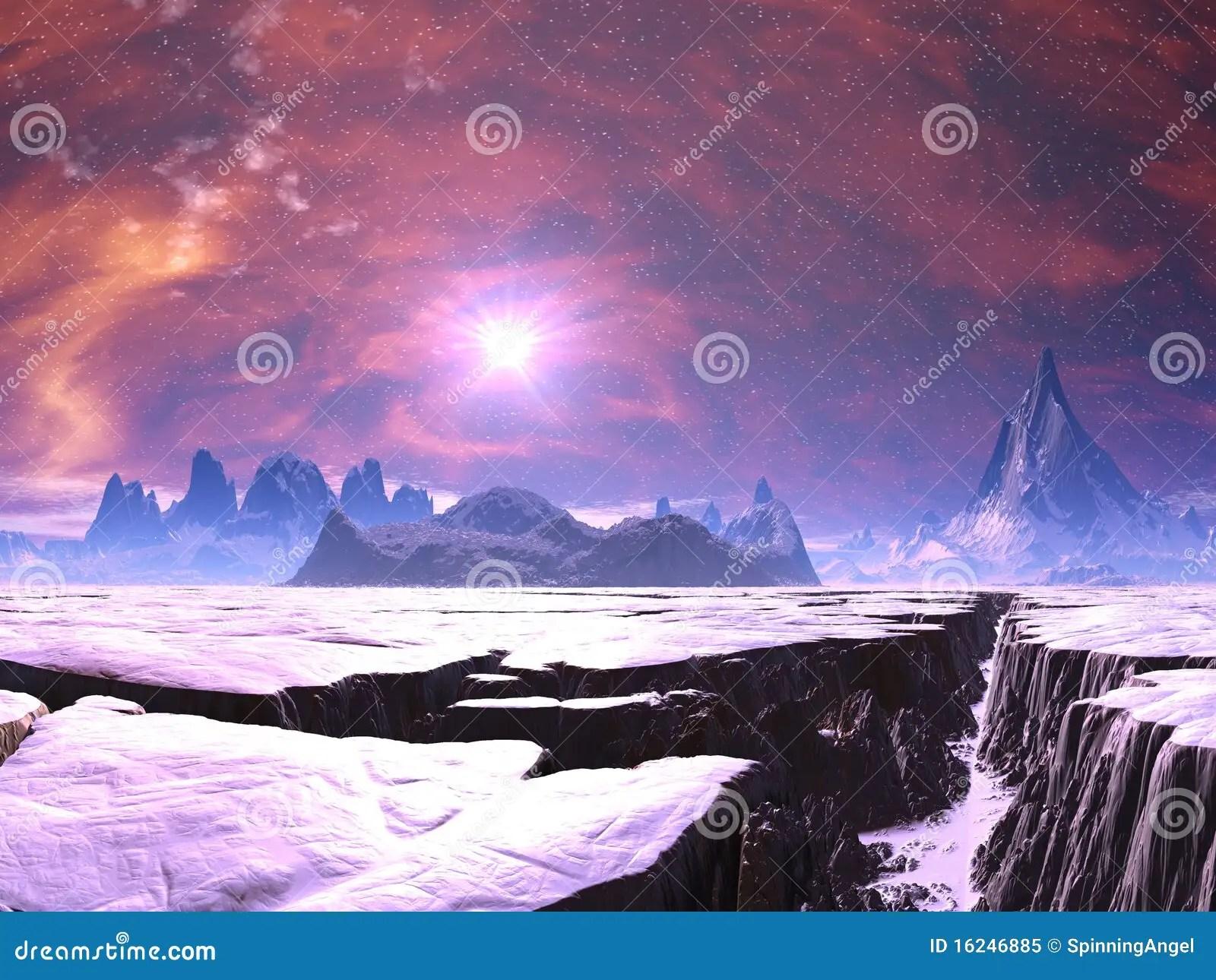 Wallpaper Hd Snow Falling Earthquake Chasm On Alien Ice Planet Stock Illustration