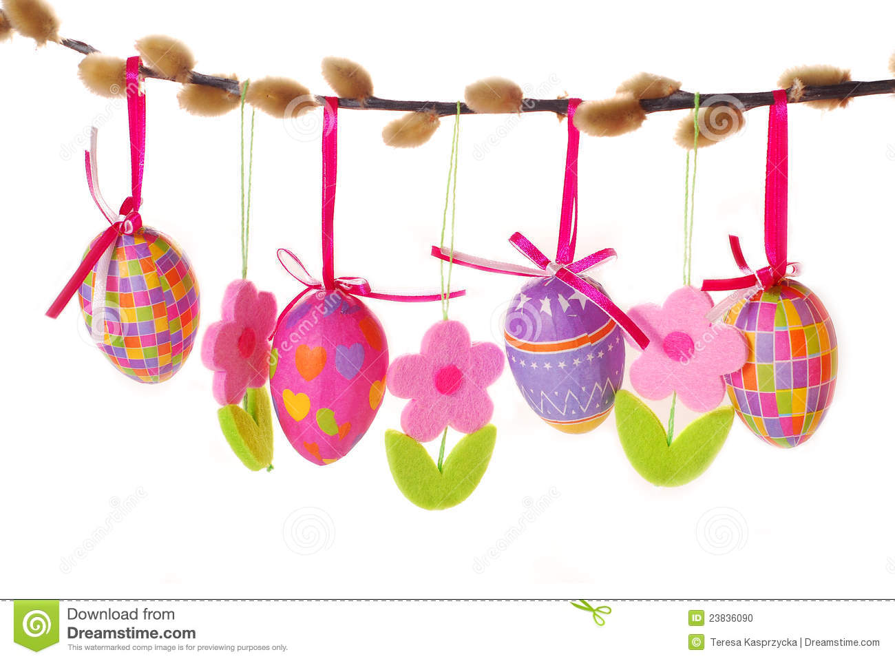 Decoration Oeuf Paques Easter Border With Hanging Eggs Stock Photo - Image Of