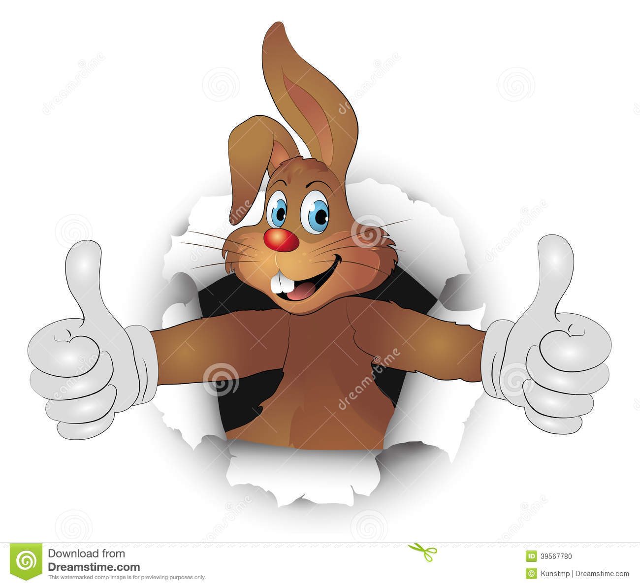 3d Dj Wallpaper Free Download Easter Bunny In Breakthrough With Like Thumbs Stock Vector