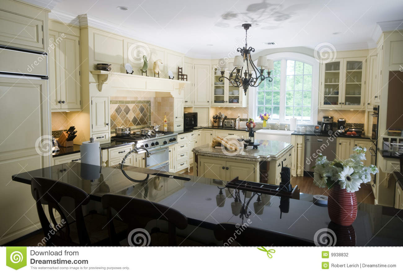 Eat In Island Eat In Kitchen With Island Wine And Baguettes Stock Photo Image