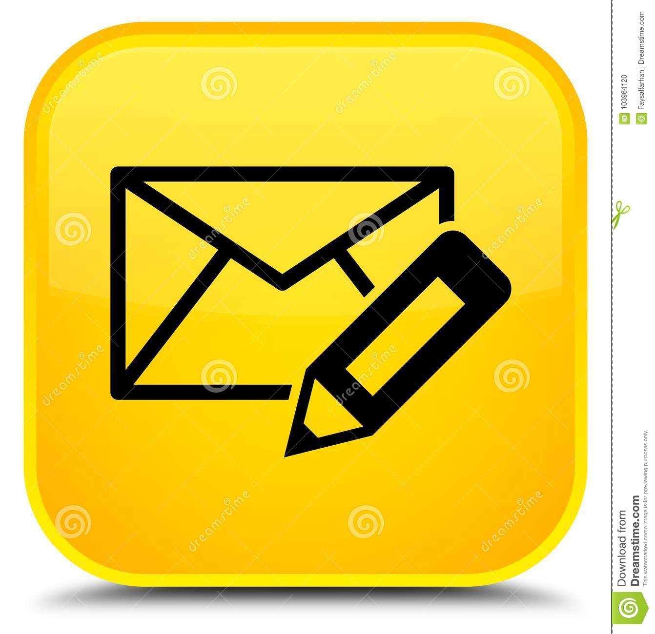 Email Icon Isolated On Special Yellow Square Button Abstract Edit Email Icon Special Yellow Square Button Stock