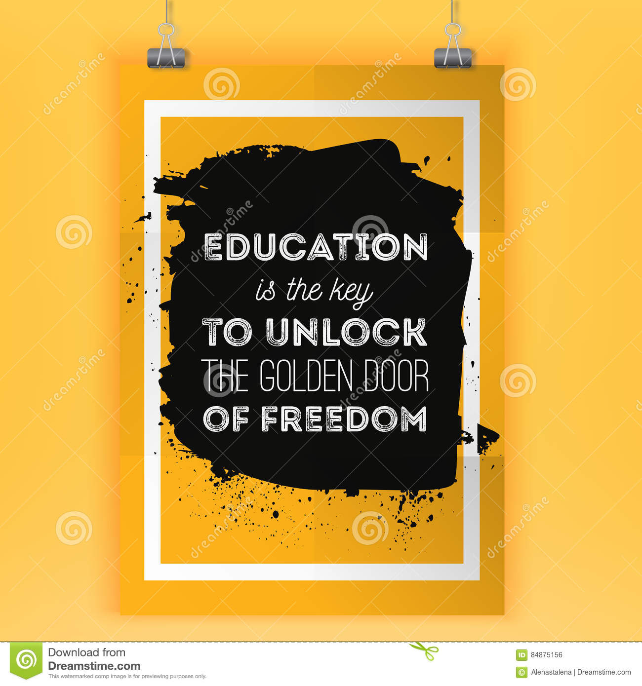 Education is the key to unlock the golden door of freedom motivational quote vector poster
