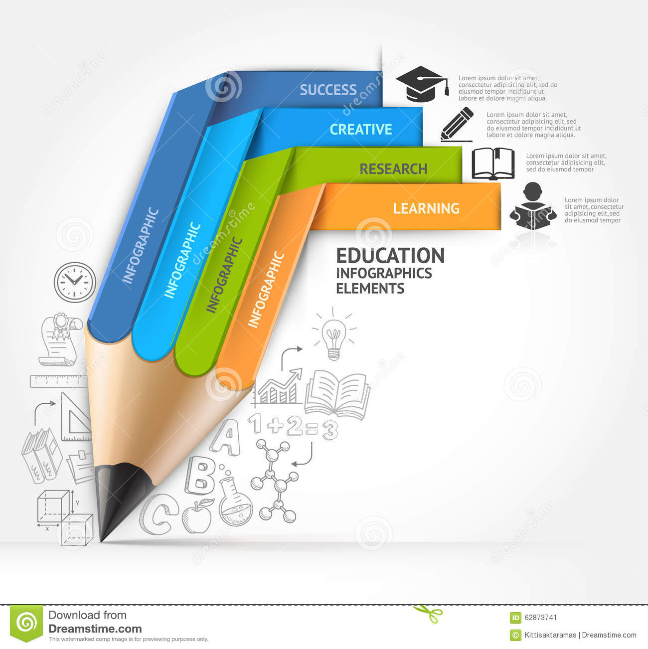 Staircase Options Education Pencil Staircase Infographics Option Stock