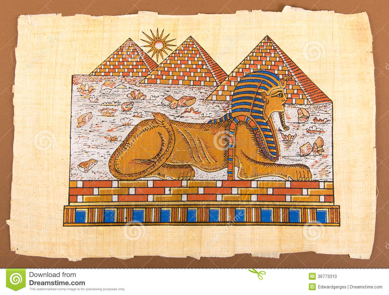 Pintura Egipcia Egyptian Hand Pyramids And Sphinx On Papyrus Stock Photo