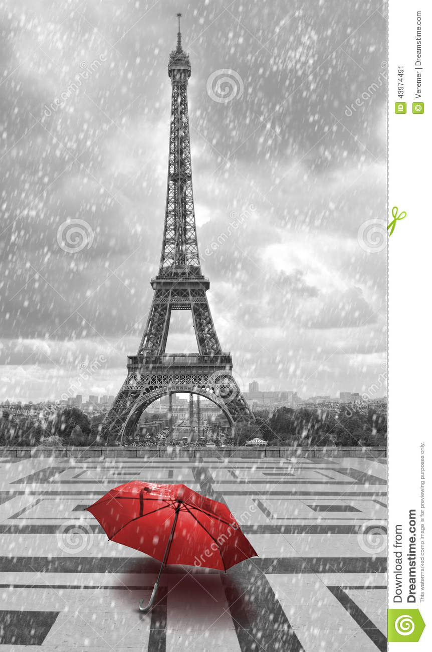 3d Art Street Wallpapers Eiffel Tower In The Rain Black And White Photo With Red