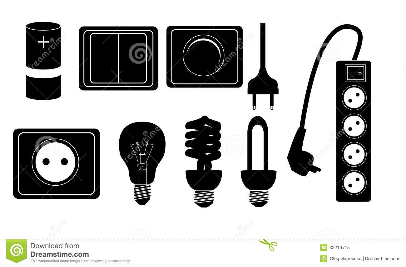Battery Chandelier Electric Accessories Silhouette Icons Vector Stock Vector