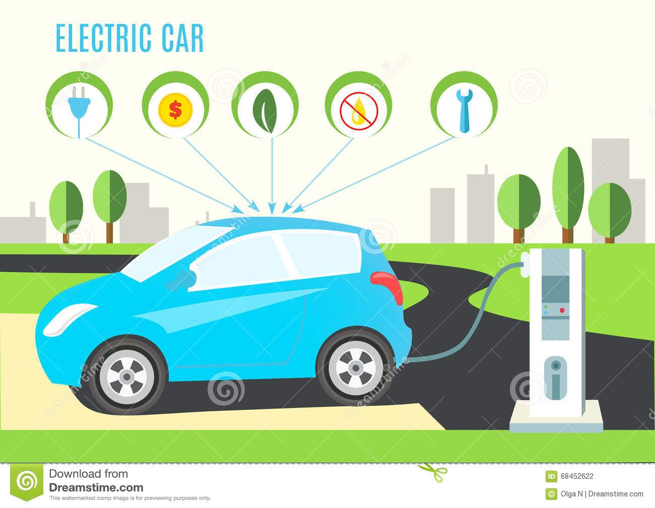 For Electric And Hybrid Vehicles Electric Blue Hybrid Car Charging Illustration On The Road And
