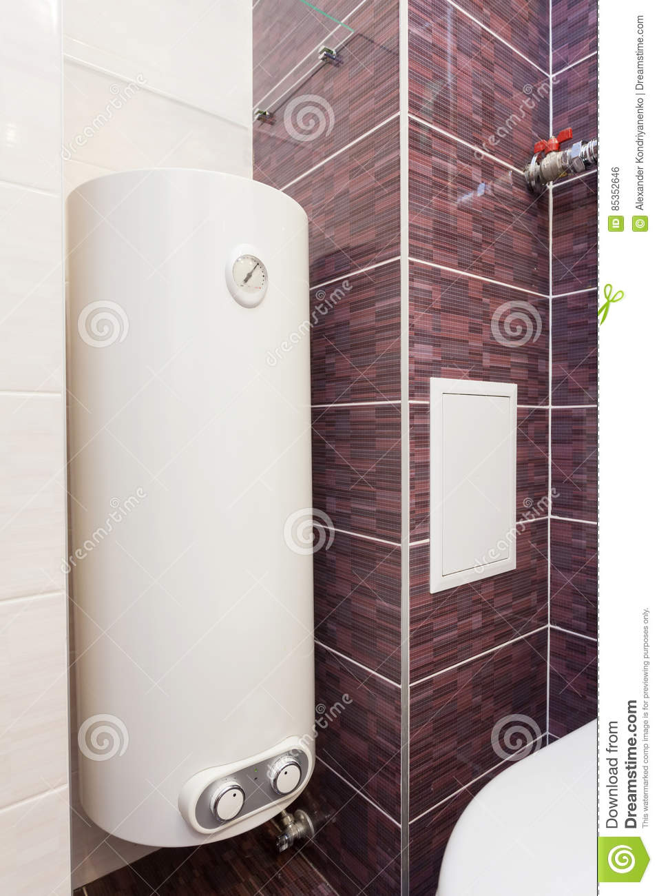 Boiler Im Badezimmer Electric Boiler Wall Water Heater In Bathroom Stock Photo Image