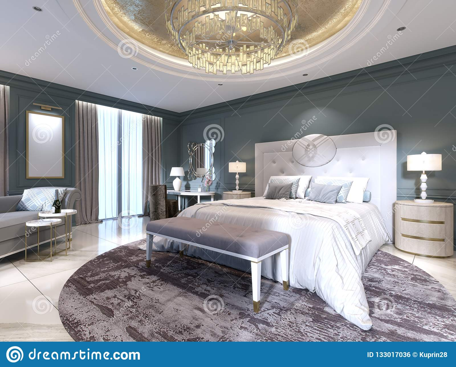 Dressing A Bed Elegant Bedroom Interior With Large Comfortable Bed And Sofa With