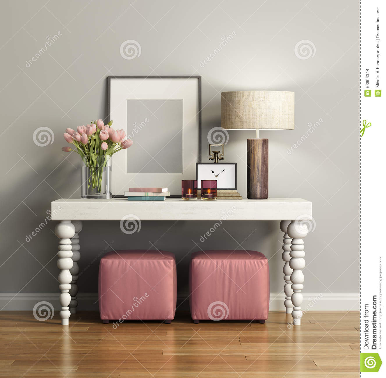 Grey Leather Sofa Elegant Chic Brown Console Table With Stools Stock