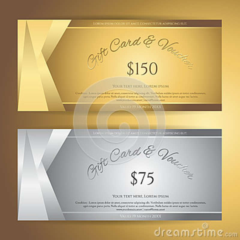 Elegant Gift Voucher Or Gift Card Or Coupon Template For Discount Or