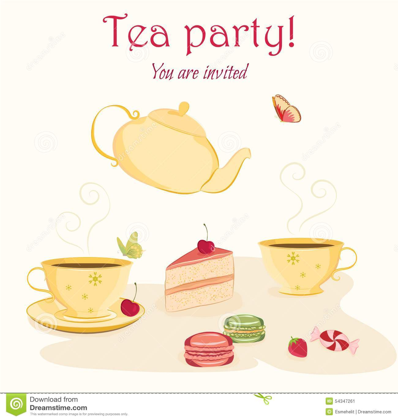 Butterflies invitation party sweets tea teapot template