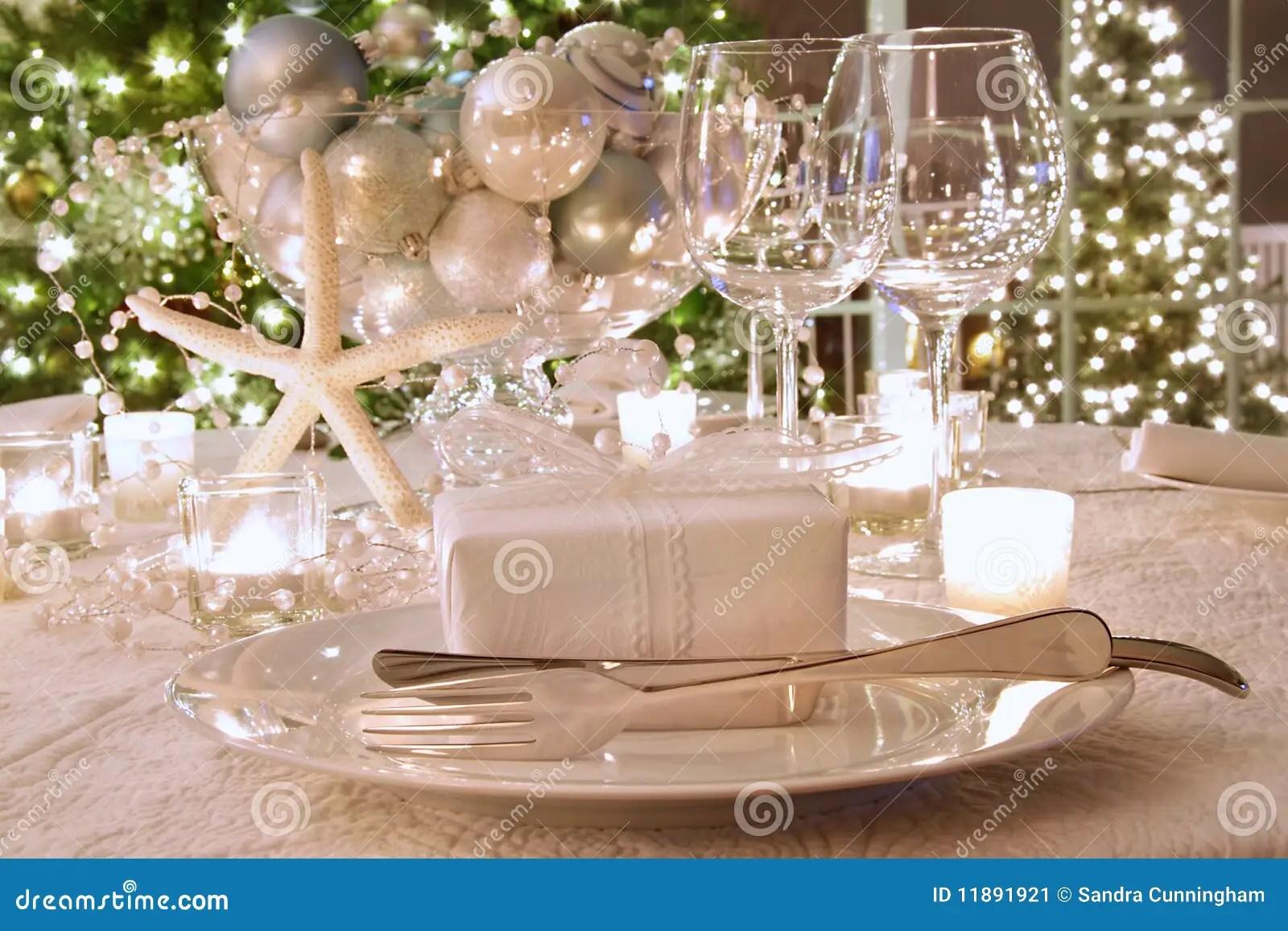 Christmas Tree Wallpaper 3d Elegantly Lit Holiday Dinner Table Stock Image Image