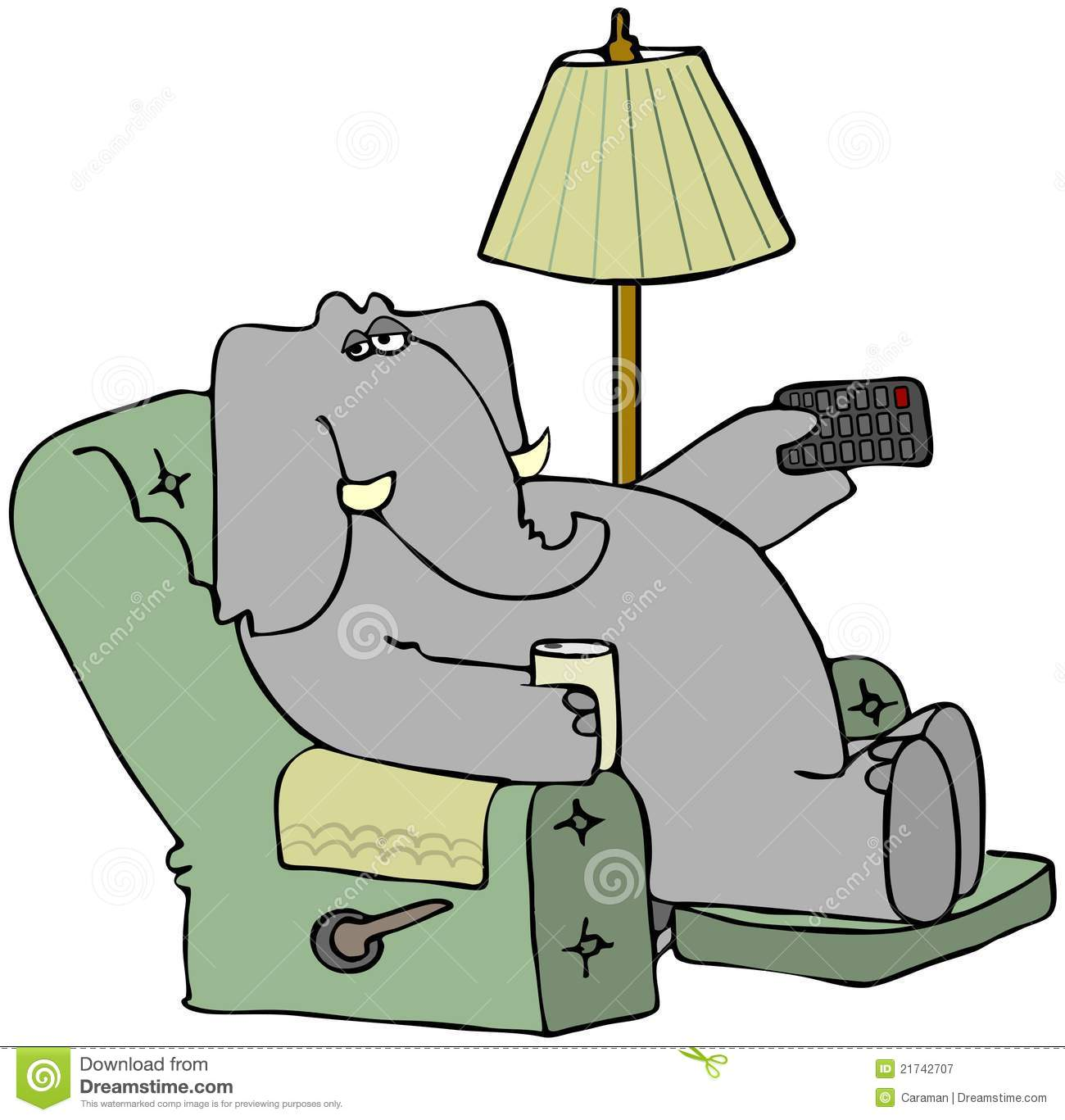 Elephant In A Chair With A Remote Royalty Free Stock - Elephant Chair
