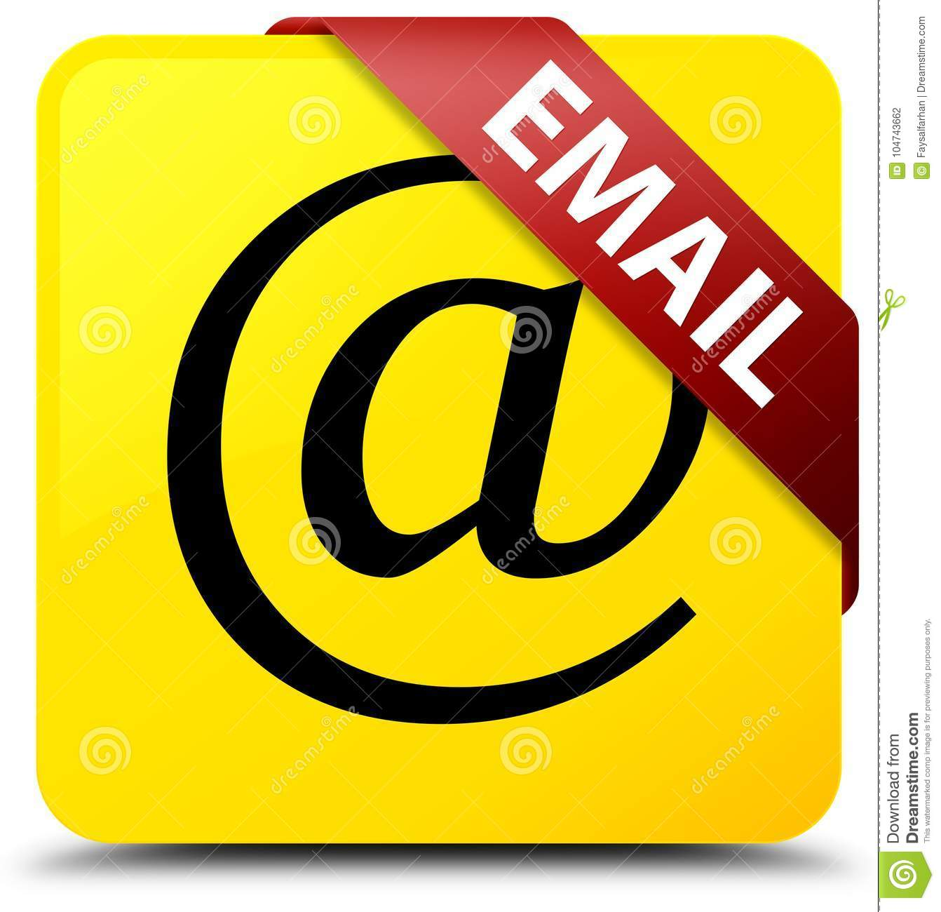 Email Icon Isolated On Special Yellow Square Button Abstract Email Address Icon Yellow Square Button Red Ribbon In