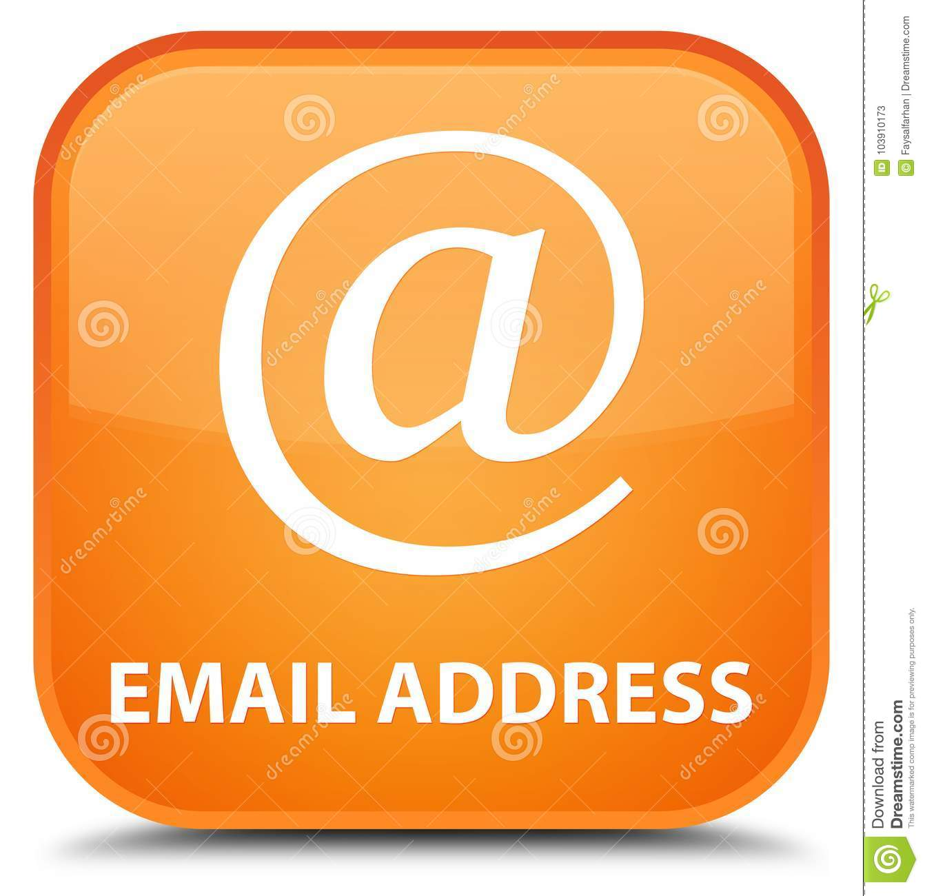 Email Icon Isolated On Special Yellow Square Button Abstract Email Address Special Orange Square Button Stock
