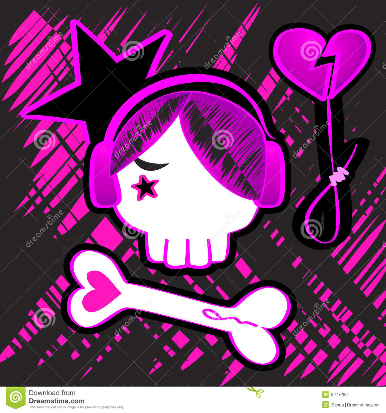 Emo Girl Wallpaper Free Download Emo Skull Art Stock Vector Image Of Black Pattern Death