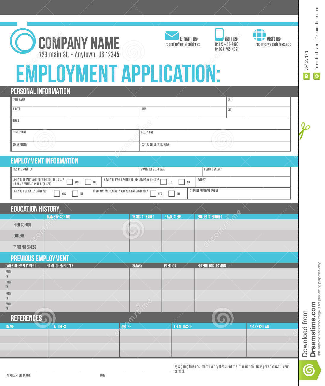 12 Job Applications All Blank Job Application Form Free Pdf Employment Download Employee Application Template Stock Vector Image 56453474