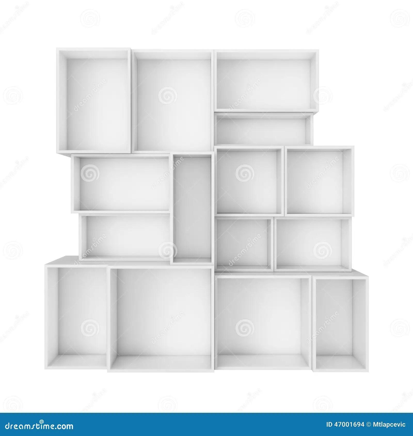 3d Shelves Wallpaper Empty Abstract White Shelves Isolated On White Background