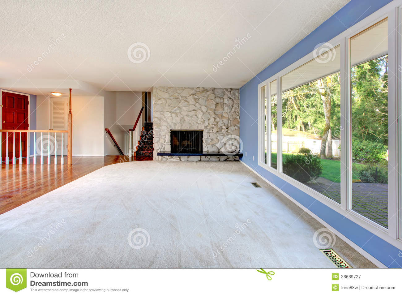 Empty living room with large windows can be as background stock -  Large Windows Can Be As Background Stock Empty Beautiful Living Room Download
