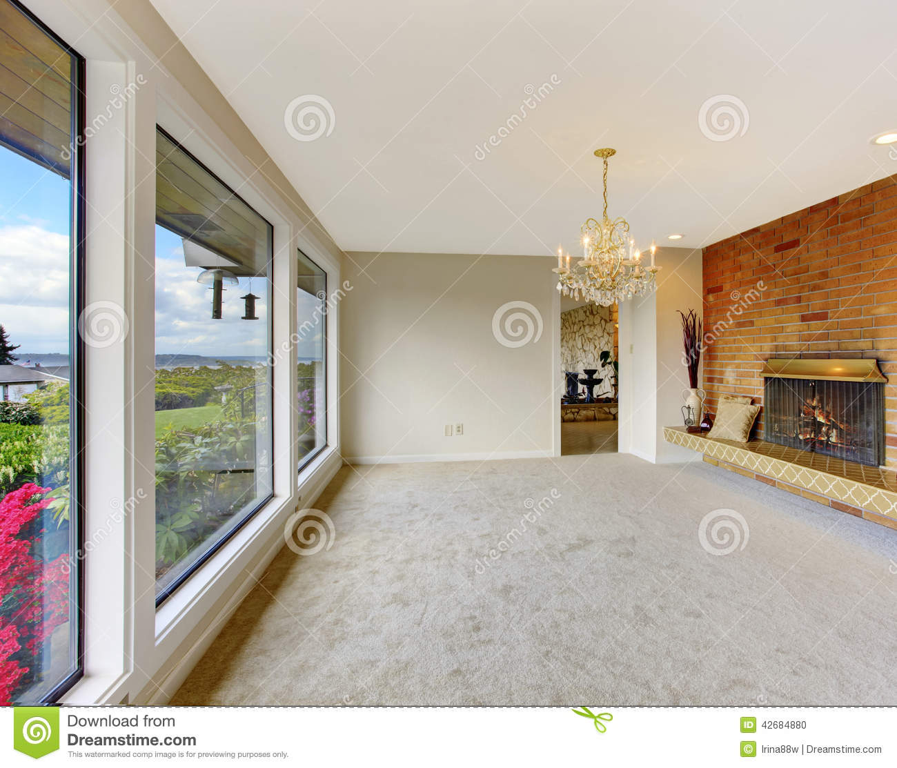 Empty living room with large windows can be as background stock -  Large Windows Can Be As Background Stock Empty Living Room Interior Download