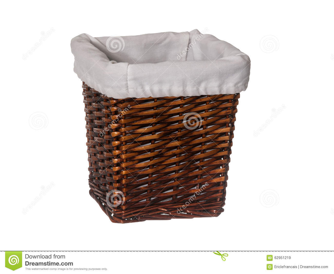 White Hamper With Liner Empty Rectangle Wicker Basket With Liner Isolated On White