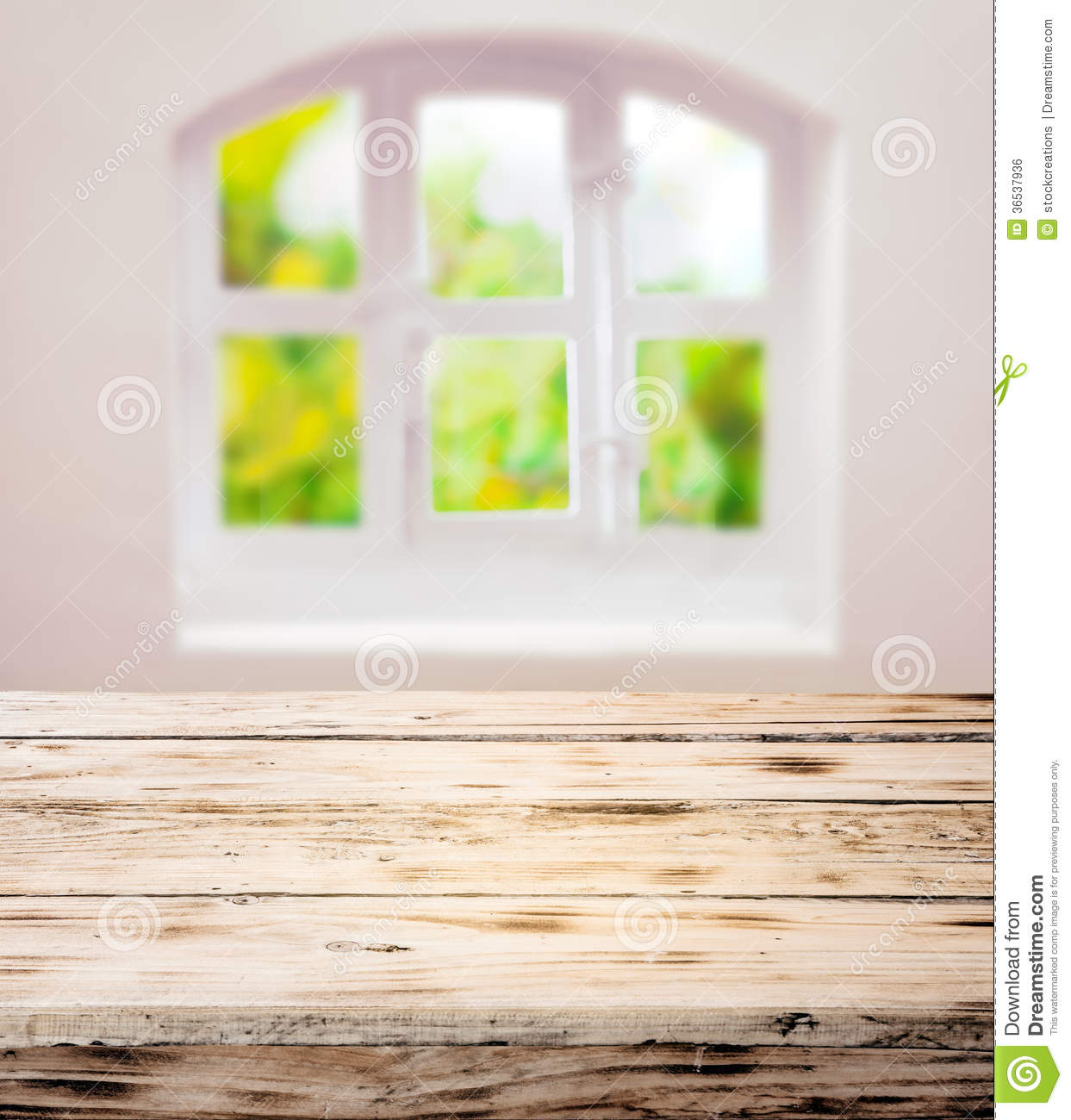 empty scrubbed clean rustic wooden kitchen table under pretty white domed window cottage panes country ready 36537936