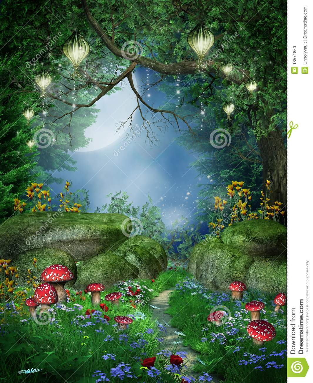 3d Mushroom Garden Hd Wallpaper Download Enchanted Forest With Lanterns Stock Illustration