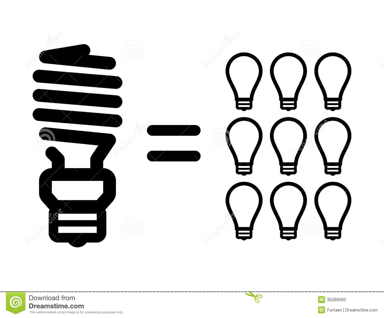 Incandescent Lamp Symbol Energy Saving Lamps Vs Incandescent Light Bulbs Stock
