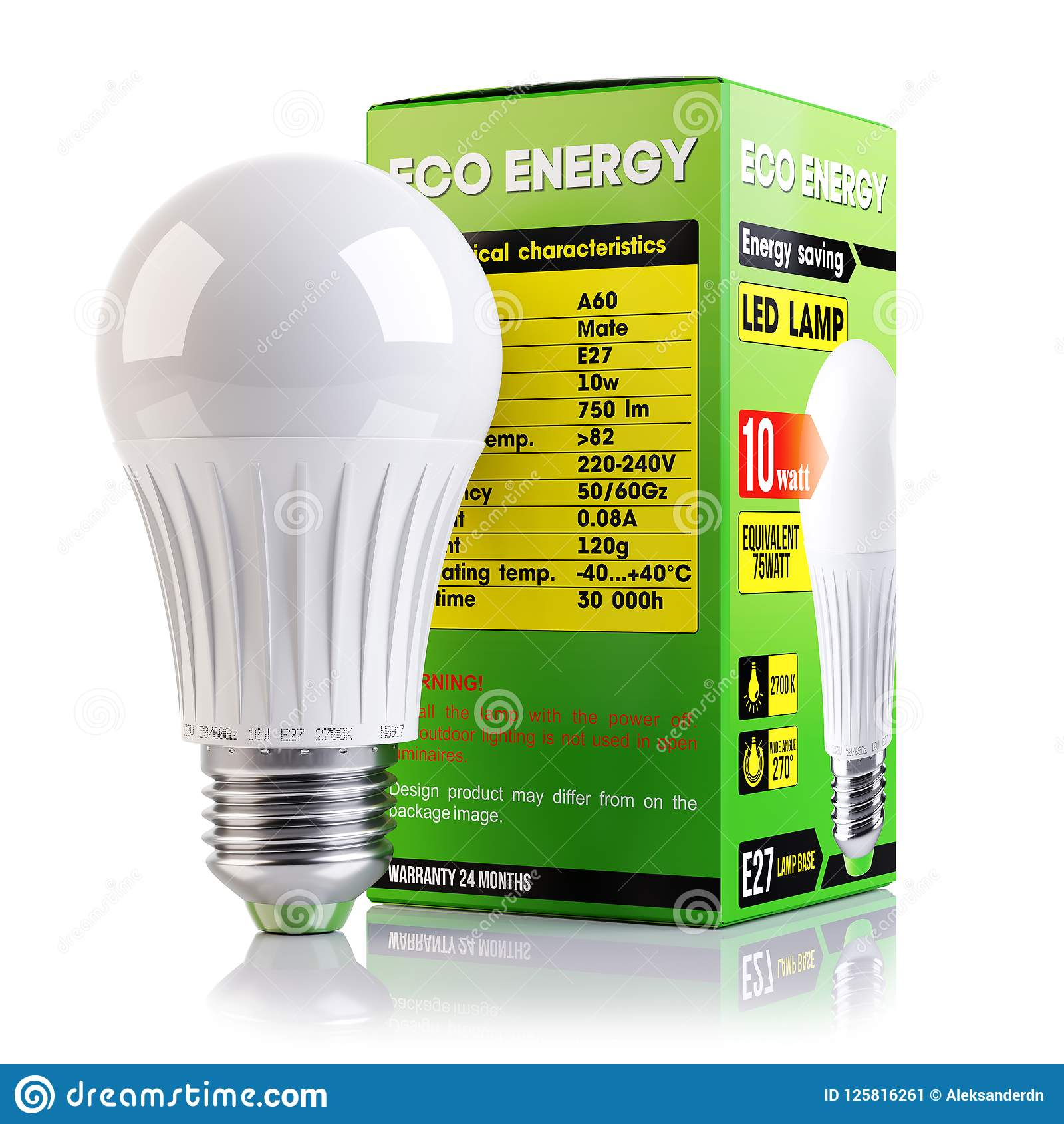 Led Verlichting 50 Lampjes Energy Saving Led Lamp And Packaging Isolated 3d Stock