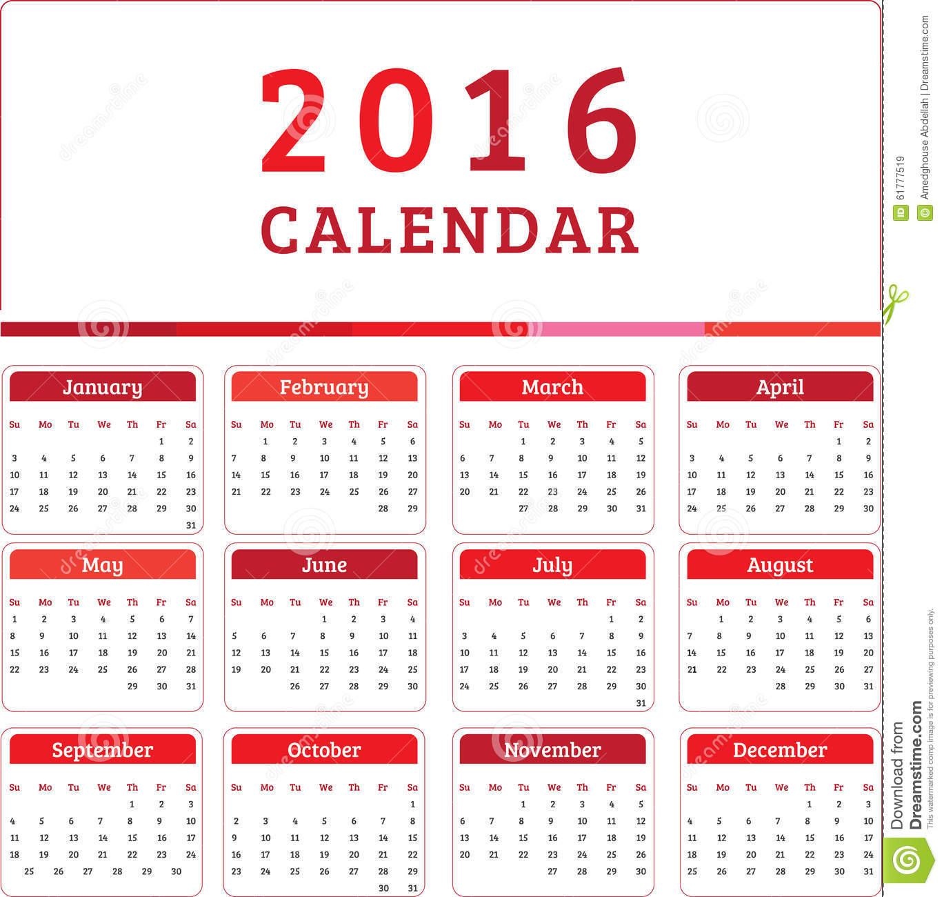 Los Mese Del Año En Ingles English Calendar 2016 Design Stock Vector Illustration Of Date