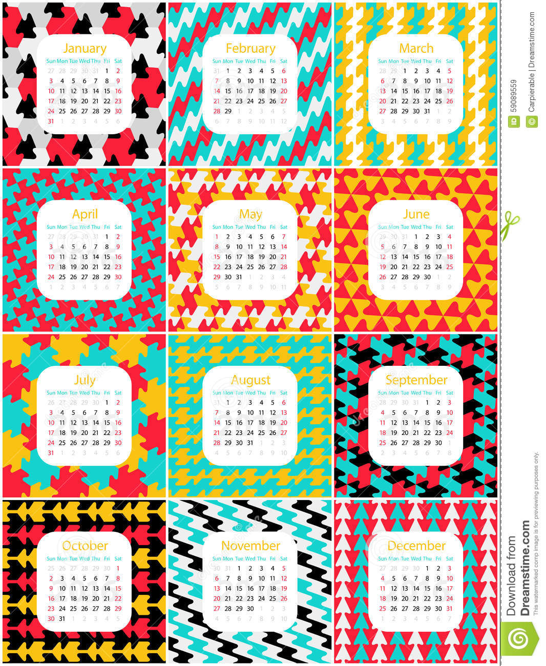 Los Mese Del Año En Ingles 2016 English Calendar Stock Vector Illustration Of Sunday 59089559