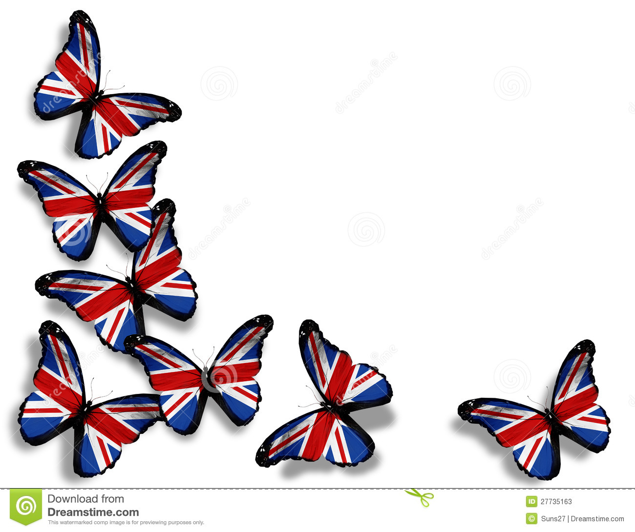 3d All Wallpaper Free Download English Flag Butterflies On White Stock Photos Image