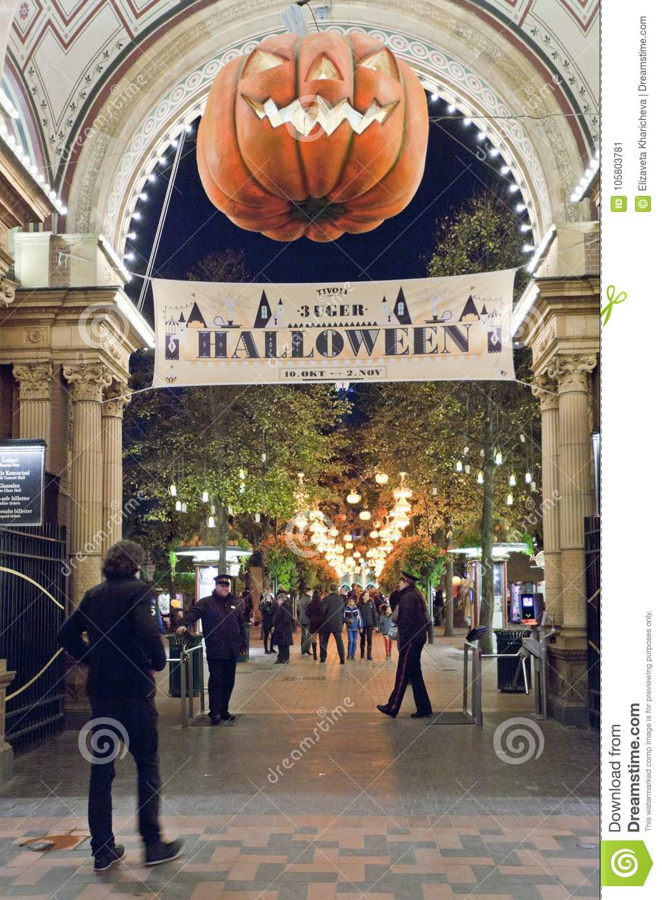 Entrance To The Tivoli Park With Decorations For The Holiday Halloween Editorial Photo Image Of Halloween Horror 105803781