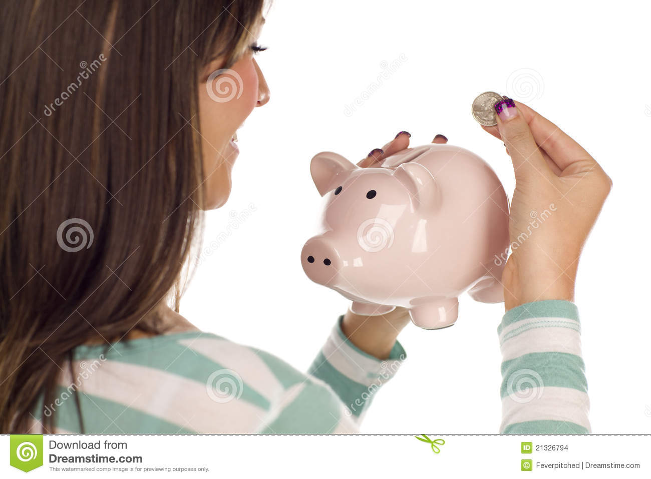 Piggy Bank Adult Ethnic Female Putting Coin Into Piggy Bank Stock Images
