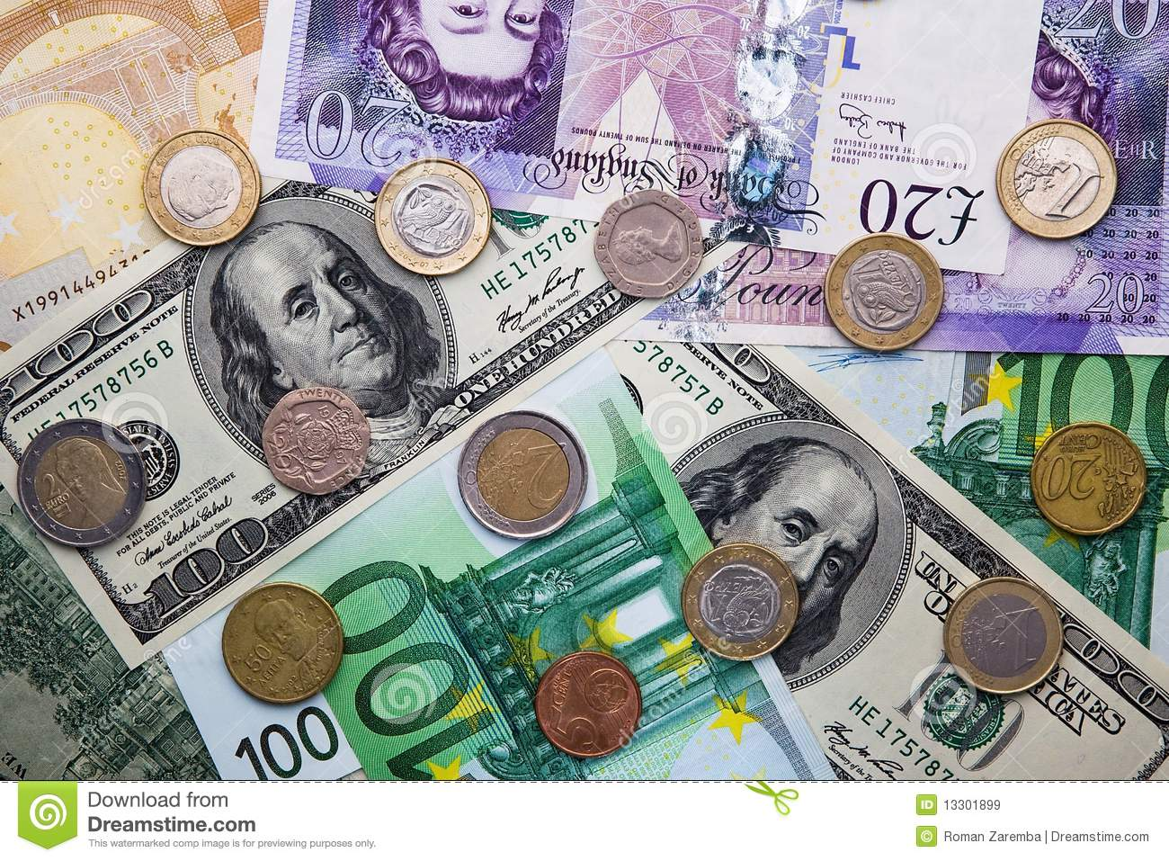 Conversion Euros A Libras Euro Dollar Pound Banknotes And Coins Royalty Free