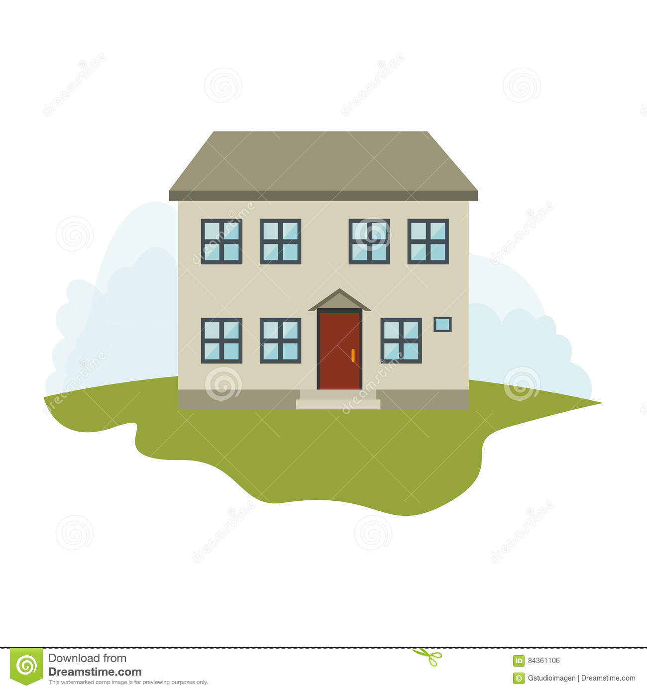 Exterior Cute House Icon Stock Illustration Illustration Of Modern 84361106