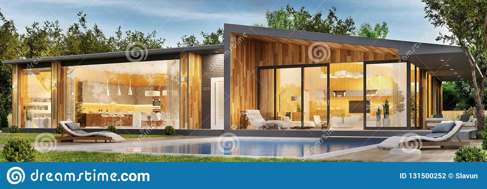 Modern House Plans With Pool Exterior And Interior Design Of A Modern House With A Pool Stock