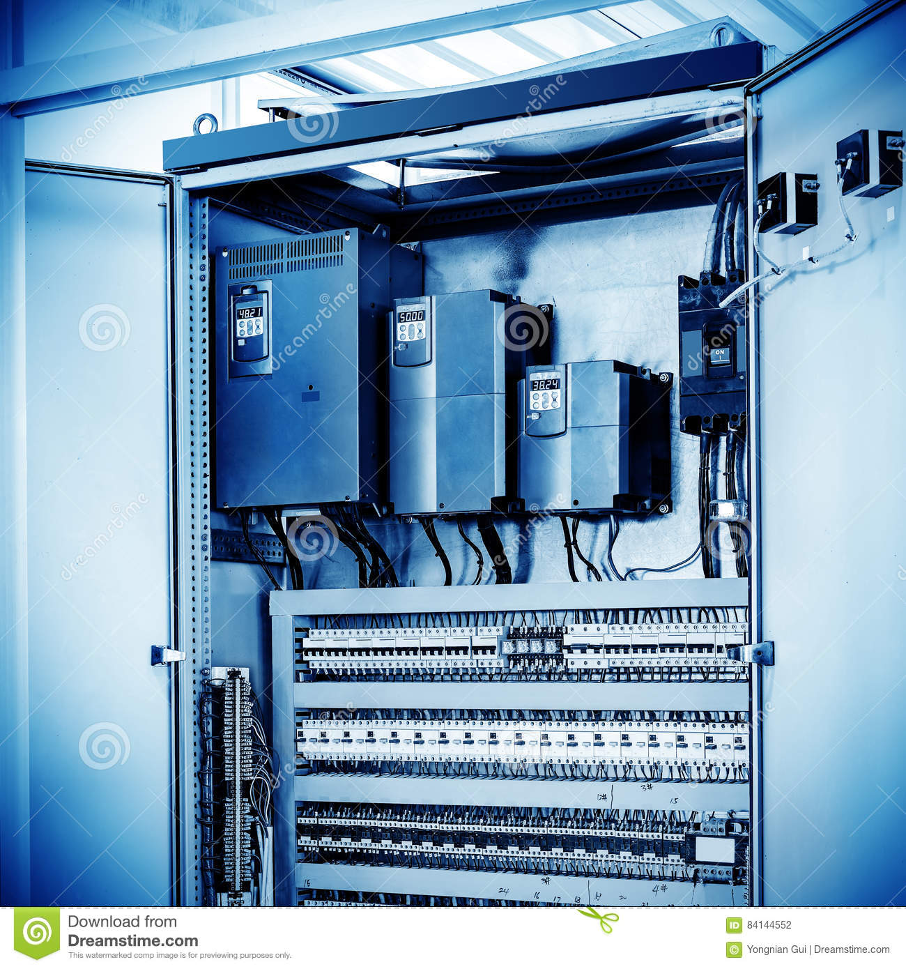 Automation Control Factory Floor Automated Machinery Control Room Stock Photo